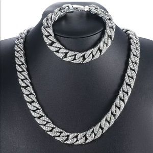 Silver rhinestone necklace link chain and bracelet